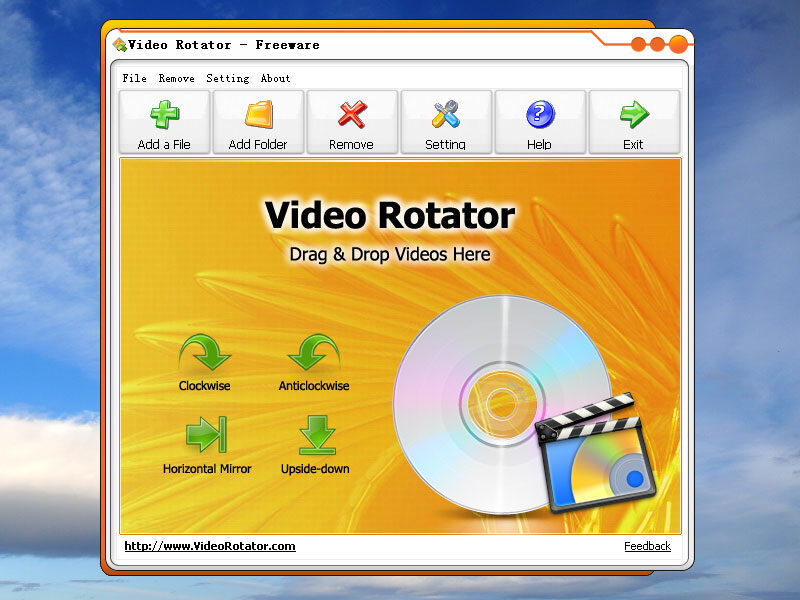 Video Rotator is a freeware Windows application for rotating video clips 90 degree clockwise, anticlockwise, horizontal mirror or upside-down. The program supports more than 15 popular video input formats includes AVI, MPG, FLV, MP4, WMV, MOV etc.
